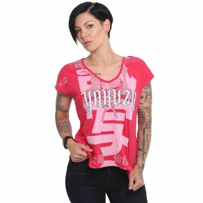 Sick Nippon V-Neck T-Shirt, piros-rose